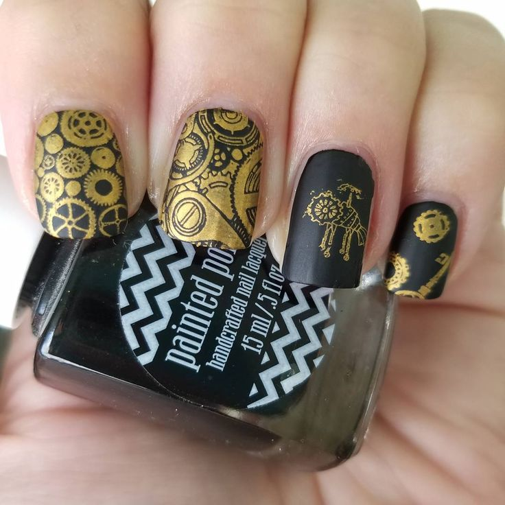 These manis by @he.chosethenails from Instagram look super artsy! She used our MM43 plate for this look! ________________________________________________ Gold steampunk for #clairestelle8sep I love steampunk images  @paintedpolishbylexi Midnight Mischief @mpolishes guilded @messymansion MM43 @cosette.nail.shop c-thru stamper and clean up brush @polishmylife Matterialistic #goldnails #nailart #nailstamping #nails2inspire #nailsofinstagram #showmynails #alltheprettynails #messymansion #painted