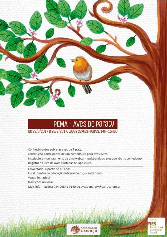 PEMA - AVES DE PARATY de 23/06/2017 a 25/08/2017, todas sextas-feiras de 14h-15h30  Associação Cairuçu Clube de Observadores de Aves de Paraty Aves de Paraty  #AvesDeParaty #ObservadorDeAves #AvesParaty #FestivalDeAves #Fauna #natureza #cultura #turismo #arte #VisiteParaty #TurismoParaty #Paraty #PousadaDoCareca #PartiuBrasil #MTur #boatarde #boatardee #bomdia #boanoite #Cairuçu #AssociaçãoCairuçu #praia #sol #mar #cachoeira