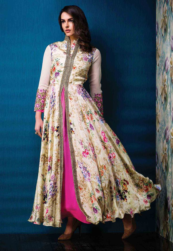 Cream Raw Silk Designer Gown 67249