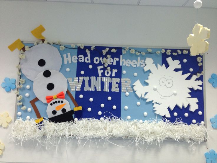 Head over heels for winter classroom bulletin board. Fun snowman and snowflake background around christmas time!