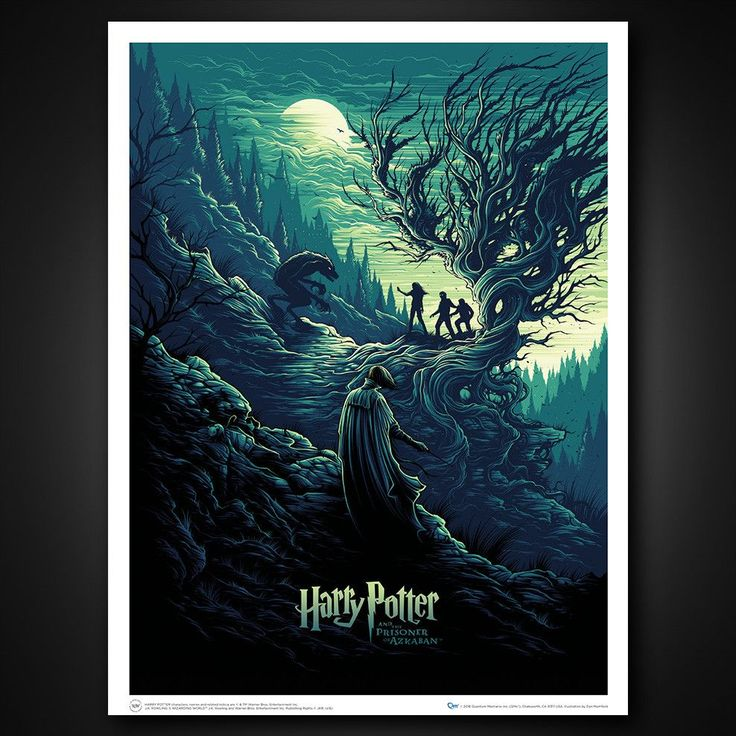 Terrifying Transformation Orders begin shipping mid-February Harry Potter, Hermione Granger and Ron Weasley face downProfessor Remus Lupin, who's turned into a raging werewolfunder a full moon. Watching in horror, Professor Severus Snape steps in to defend the intrepid trio. Artist Dan Mumford draws usinto that climactic scene fromHarry Potter and the Prisoner of Azkabanwith this design that castsan eerily viridescent glow. Harry Potter and the Shadow of the Werewolf is lithograph...