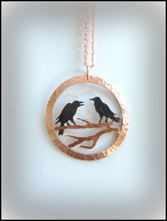 Two crows, two for joy, small bird pendant, crow pendant, crow necklace, raven pendant, crow jewelry, raven jewelry, rook jewelry, BC artist