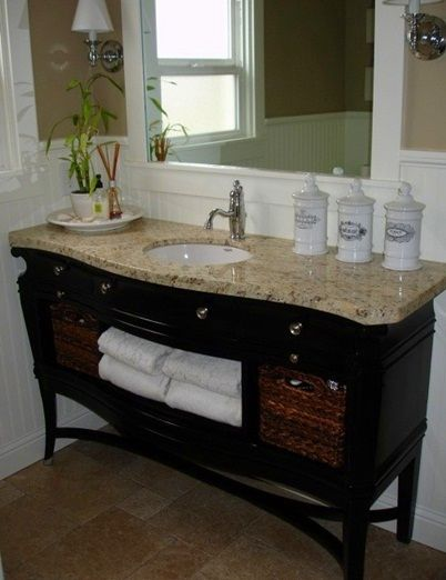 adding a granite or quartz top to a piece of furniture makes a fantastic vanity country bathroom