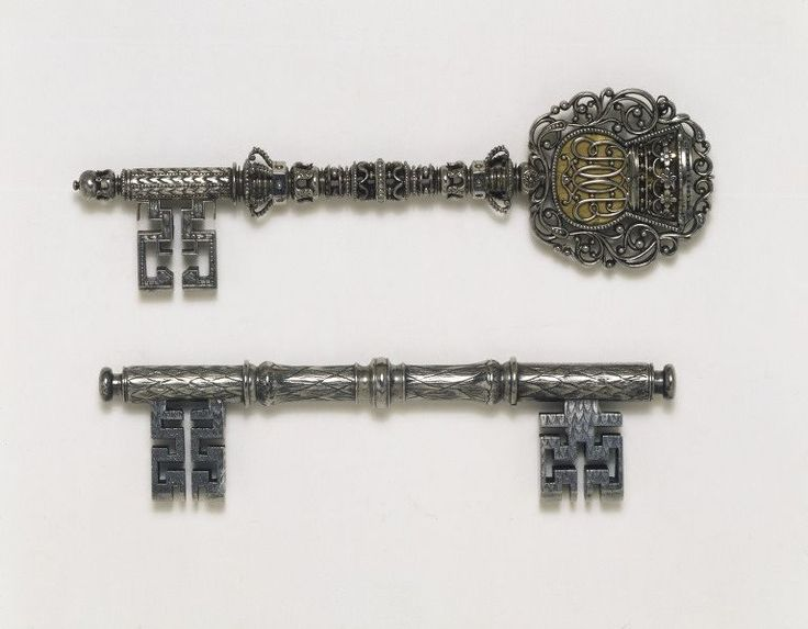 """1660 English Key at the Victoria and Albert Museum, London - From the curators' comments: """"This key was a pass key enabling access to one of the royal parks or palaces. The inscription probably refers to Thomas 5th Lord Wentworth (1613-1665), a gentleman of the Bedchamber to Charles II."""""""