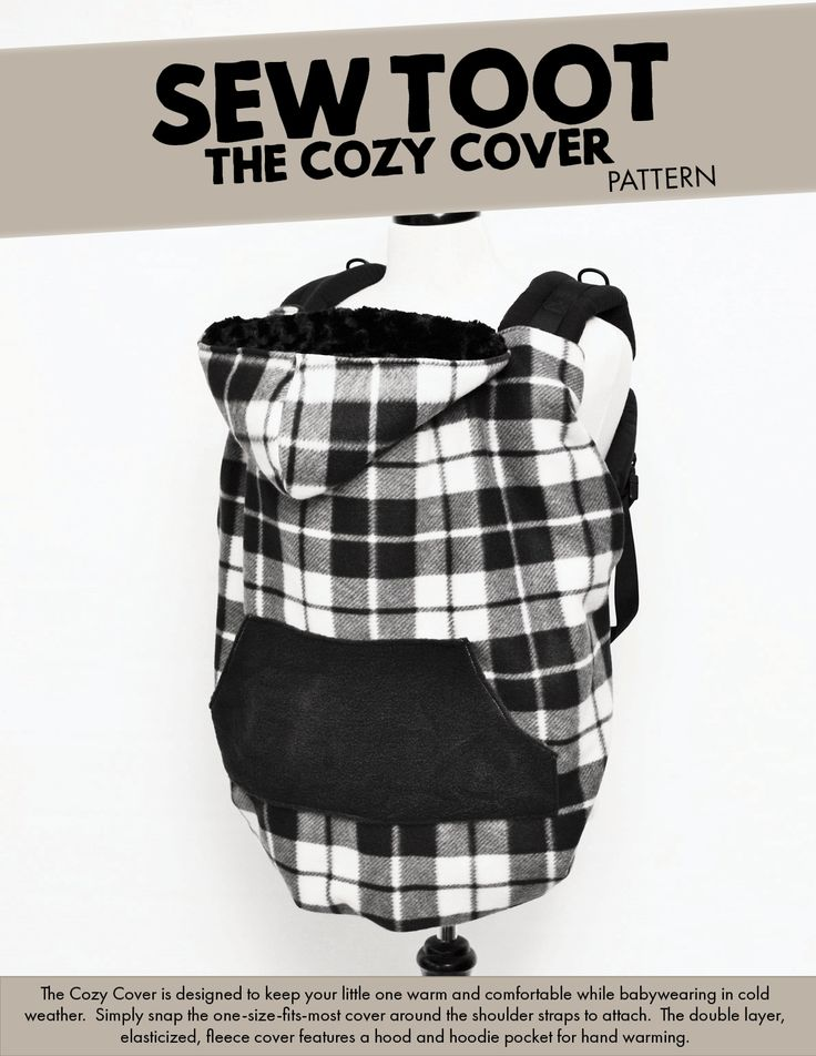 The Cozy Cover is a cold weather baby carrier cover designed to snap onto carriers and keep little ones warm. Sew your own with Sew Toot!