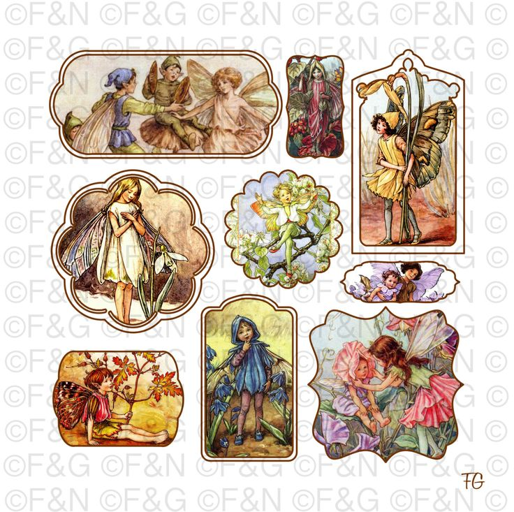 Cicely Mary Barker Flower Fairies - Digital TAGS/Labels, Digital Graphics, Craft, Scrapbooking, Cards - Pack 1 di TheEmporiumOfWonders su Etsy