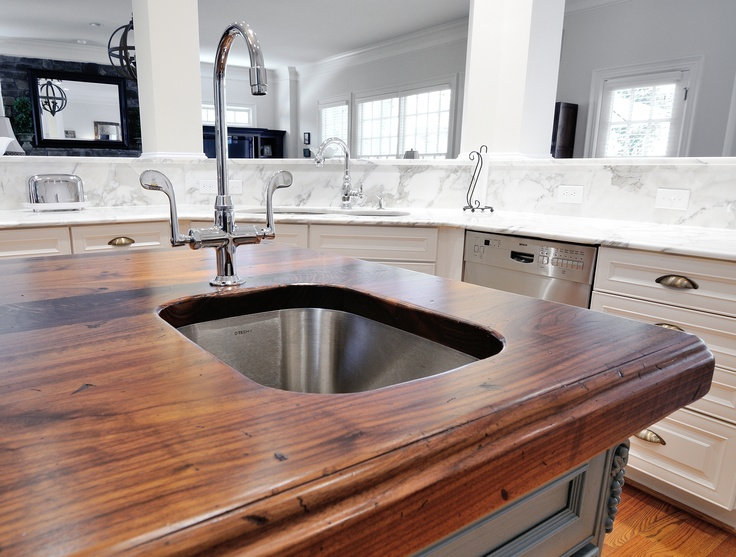 Distressed Black Walnut Heritage Wood By Stone Collection Countertops  Kitchen Island By Atlanta Kitchen