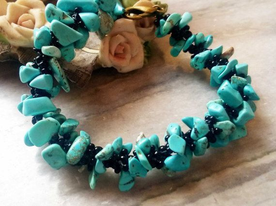 Turquoise Semi Precious Stone Bracelet by FusionCraftJewelry