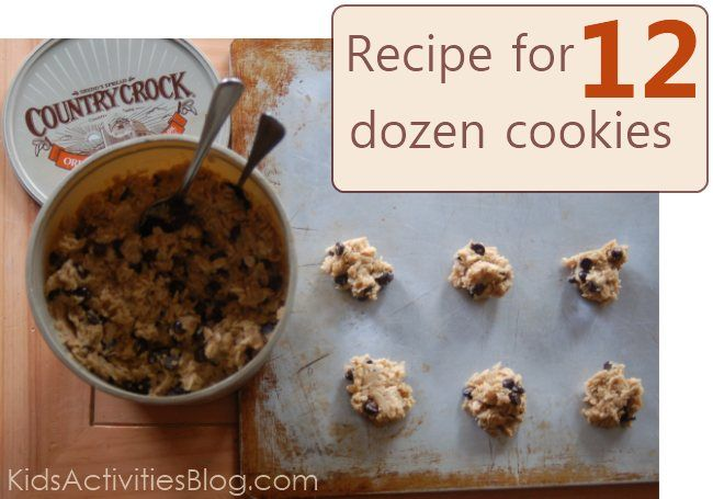 12 dozen cookies recipe - perfect to make for Christmas crowds.  Stores for two weeks in the fridge.