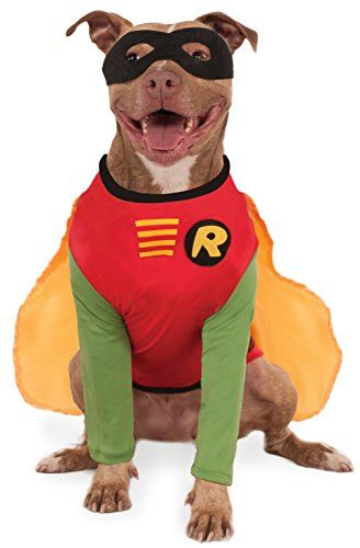 Officially licensed DC Comics Robin pet costume Costume features red shirt with green sleeves and attached cape; includes black eye mask XXL fits dogs 36 inches neck to tail and 32 inches around the chest