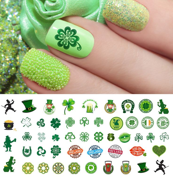 37 best St. Patrick\'s Day Nail Art Decals images on Pinterest
