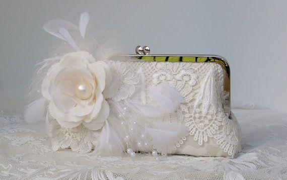 Ivory Bridal Clutch / Vintage Bride / French by PetiteVintageBags