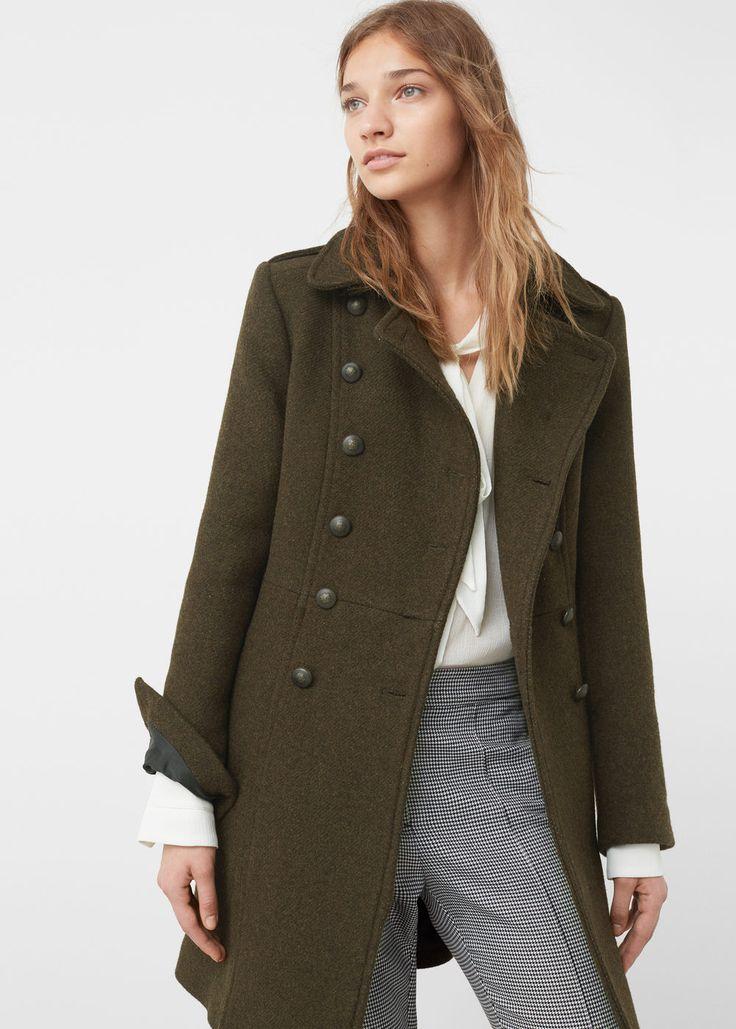 Cappotto stile militare lana - Cappotti da Donna   MANGO Italia