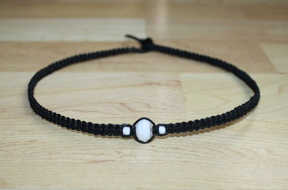 Teen Boy Gift for Boyfriend Necklace for Him - White Glass Bead Black Hemp Choker Necklace - Mens Hemp Necklace for Men Hemp Jewelry for Him