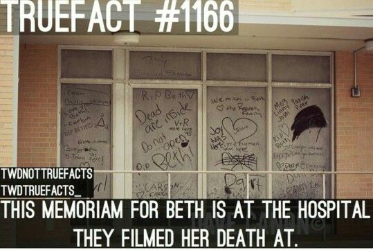The Walking Dead - TWD - True Facts - #1166 - This memoriam for Beth is at the hospital they filmed her death at.