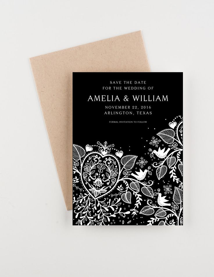 Floral Lace Save The Date, Black and White, Bridal Shower, Wedding Invitation by seahorsebendpress on Etsy