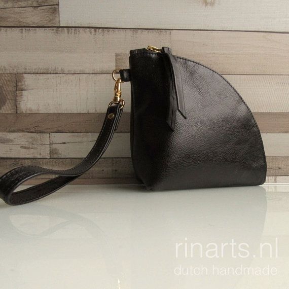 Leather Q-bag clutch / leather zipper pouch / leather door rinarts