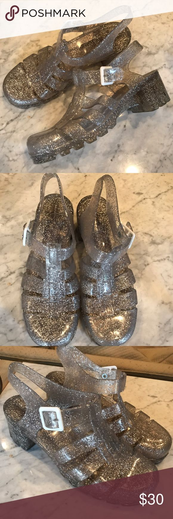 Juju jelly heeled sandal clear with silver glitter Great condition worn a couple times JuJu Shoes Sandals