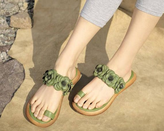 Handmade Green Sandals with Flowers Women's Leather