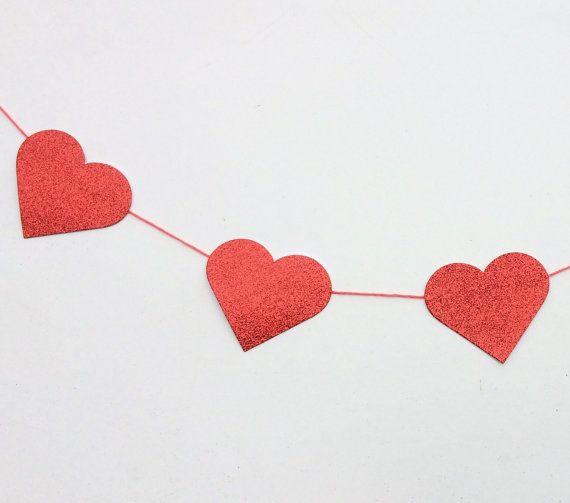 Glittery heart garland made to order sparkly by BrightIslandUK