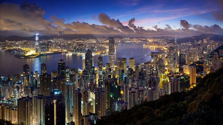 Download Wallpaper 3840x2160 City, Hong kong, Night, Clouds, Lights 4K Ultra HD HD Background