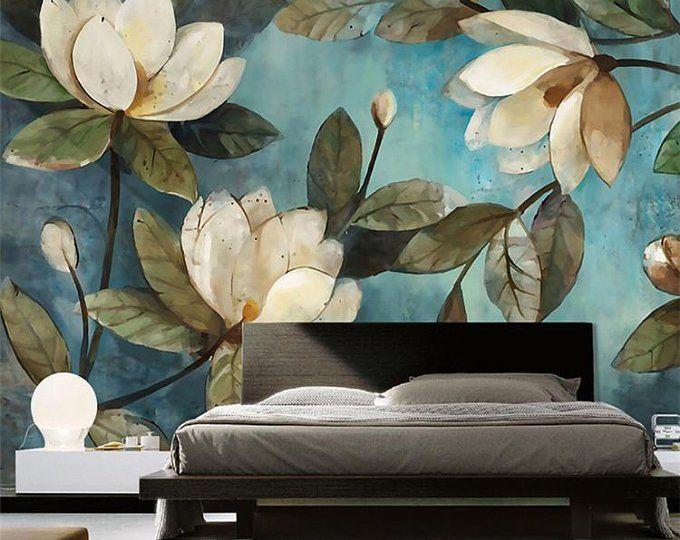 Fabulous Oil Painting Wallpaper Wall Mural Cherry Tree Wall Etsy Mural Wallpaper Floral Wall Decor Mural