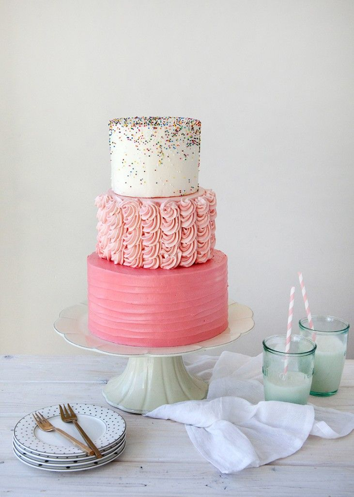 3 tier pink sprinkle party cake