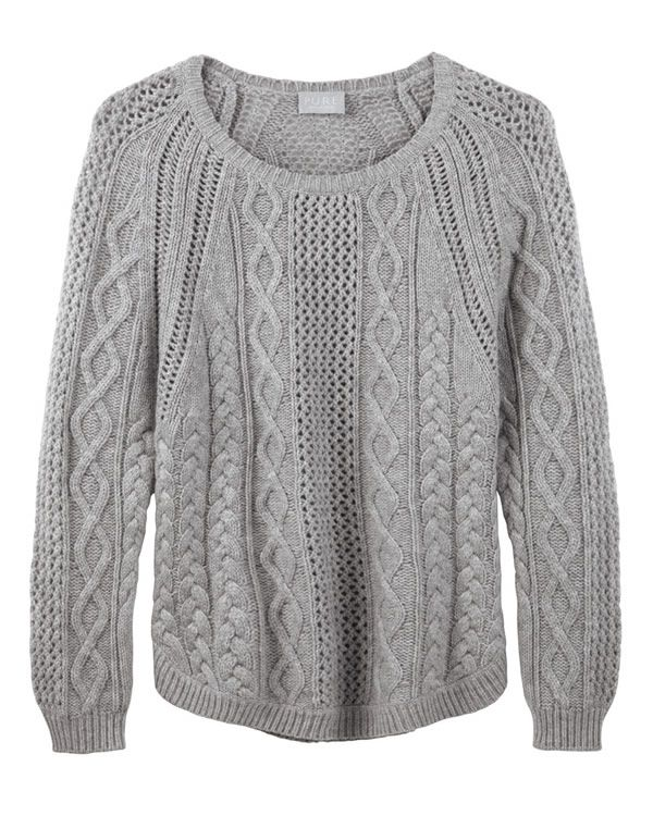 Heather Grey Curved Hem Cable Sweater