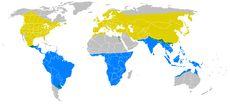 Rozšíření vlaštovky obecné:žlutá - hnízdištězelená - celoročněmodrá - zimoviště