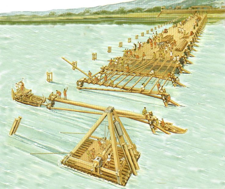 Roman troops constructing a bridge.                                                                                                                                                                                 More