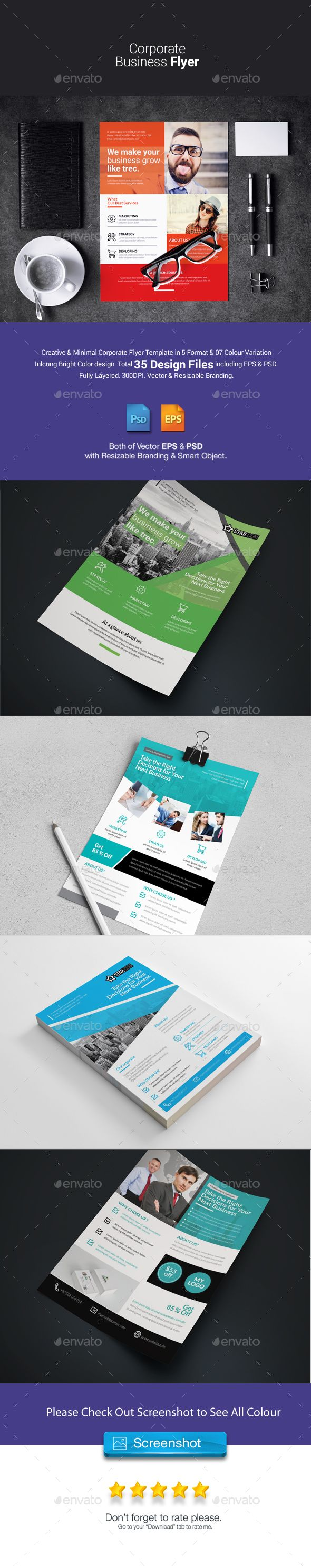 Corporate Flyer Bundle 5 in 1 - Templates PSD, Vector EPS