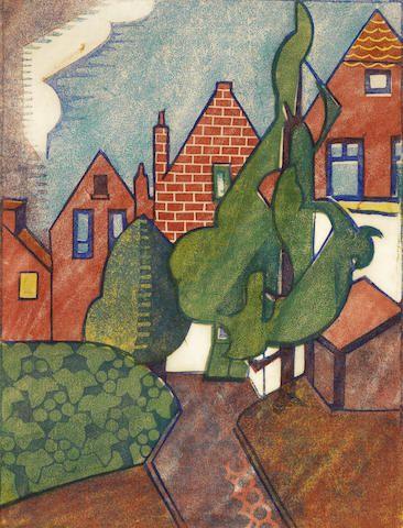 Dorrit Black (Australian, 1891-1951) Dutch Houses Linocut printed in yellow ochre, red, green, greyish blue and cobalt blue, circa 1929, on cream thin oriental laid,