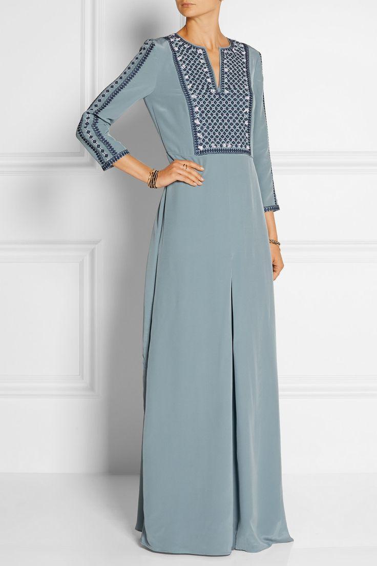 Tory Burch|Embroidered silk crepe de chine maxi dress|NET-A-PORTER.COM
