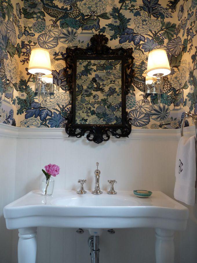 277 best wallpapered bathroom images on pinterest