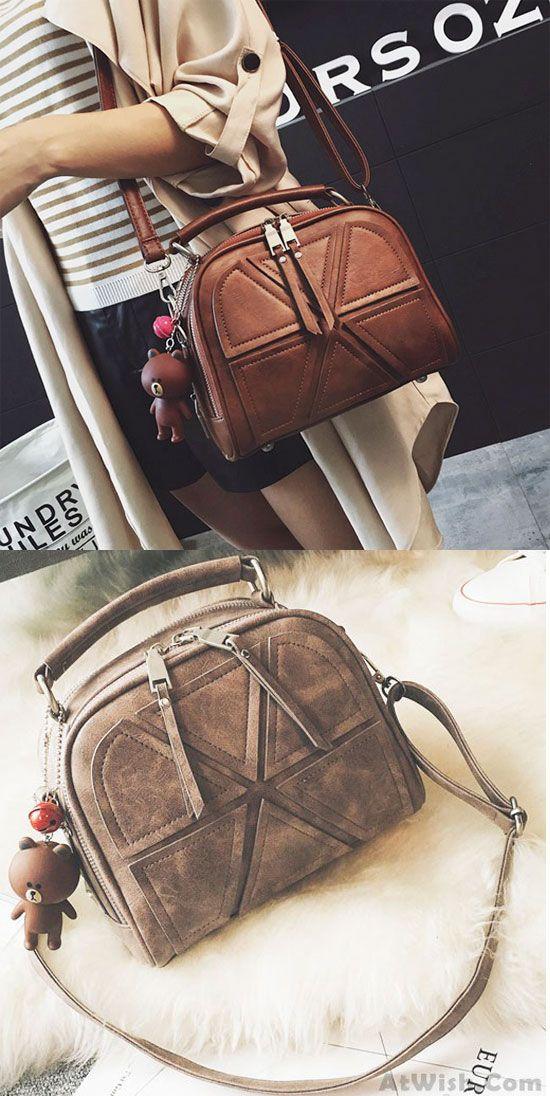 Retro Lines Separated Geometric Pattern PU Fashion Double Zippers Handbag Shoulder Bag for big sale ! #shoulder #bag #handbag #PU #fashion #women