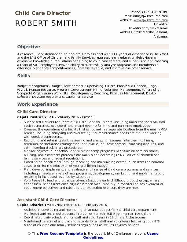 Child Care Resume Duties Elegant Child Care Director Resume Samples