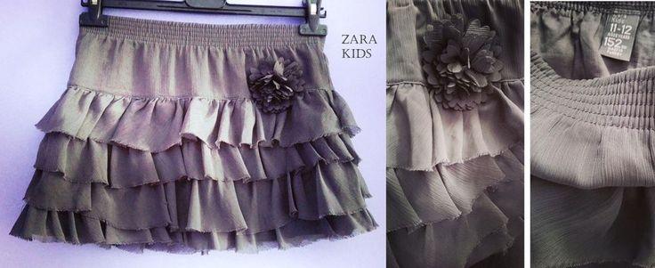MINI GONNA bambina ragazza ZARA KIDS 152cm 11 12 anni grigia balze fiore chiffon