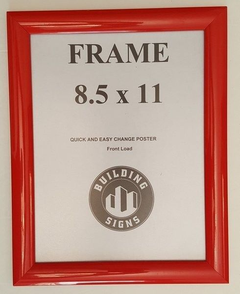 RED Snap Frame 8.5 x 11 Inches Front Loading Quick Poster Change, Wall Mounted.