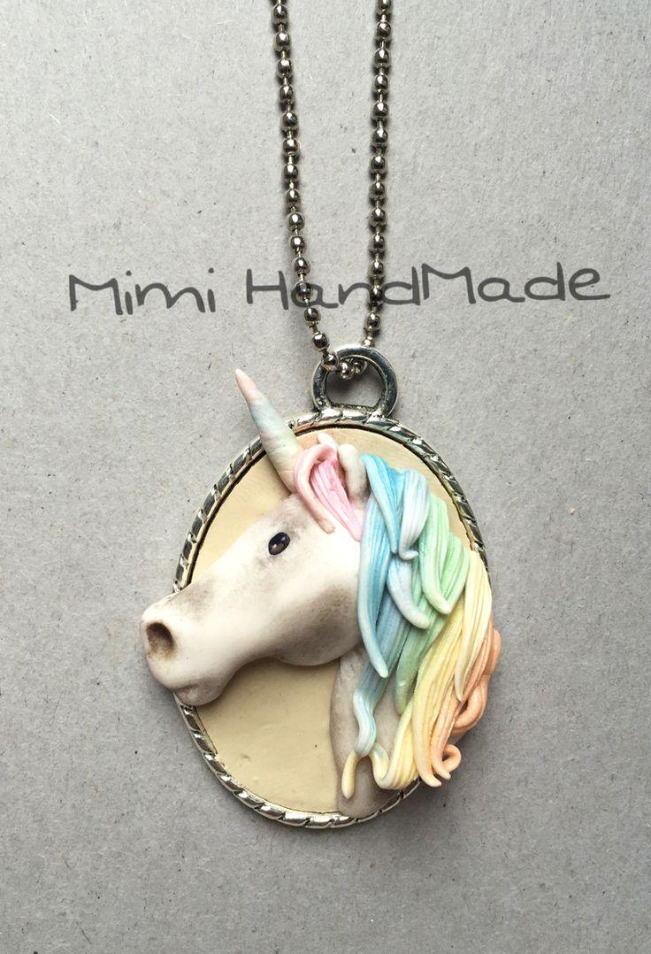 Unicorn necklace // fimo pardo polymer clay hand Made cernit pasta polimerica rainbow