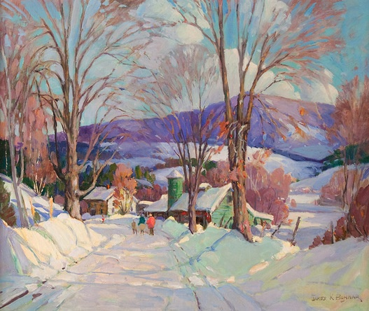 Figures Walking Down a Snowy Road - James King Bonnar