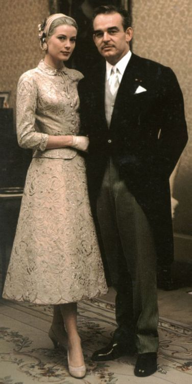 Grace & Family:  Grace and Rainier. Offcial civil wedding portrait by Howell Conant. April 19, 1956.