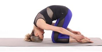 Get major relief from neck and back pain by doing these yoga moves that help ease muscle tension. In this video, yoga and Pilates expert Kristin McGee demonstrates the Rabbit and Mermaid pose. | Health.com