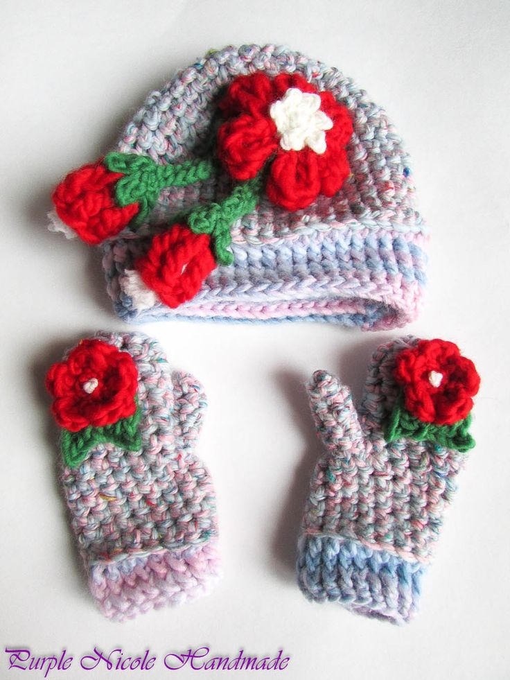 Alice - Handmade Crochet Girly Beanie  gloves by Purple Nicole (Nicole Cea Mov). Materials: wool, decorative beautiful crochet red flowers.