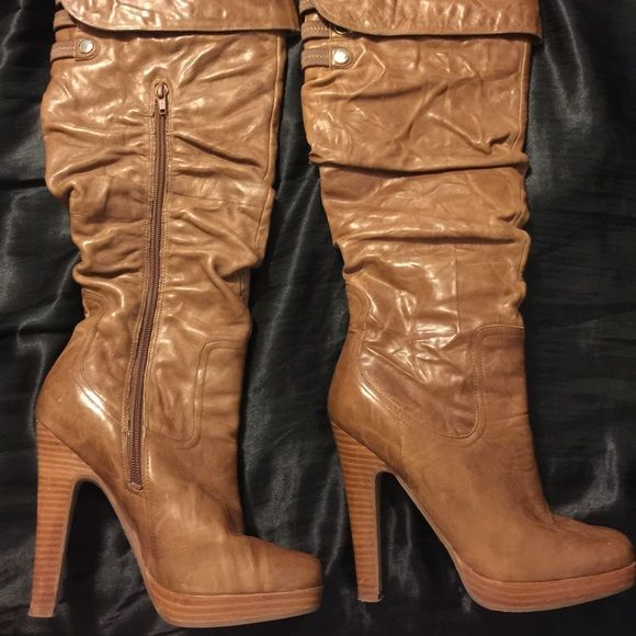 Jessica Simpson knee high boots. Jessica Simpson Light cognac knee high slouch boots. Size 6. Worn one time out. Too big for my feet. Still in love with them though! I do not have the box. Jessica Simpson Shoes Heeled Boots