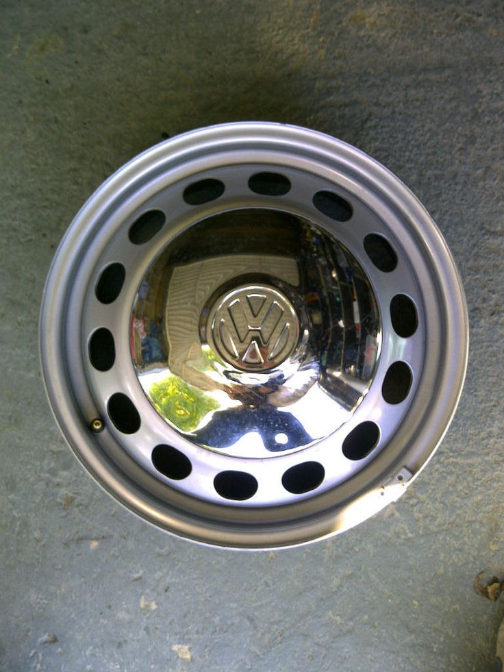 "sixteen inch 16"" caddy wheel 16x6 ET50 mock up with oe VW hubcap, not fitted yet."