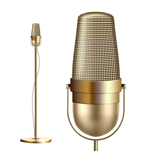 Retro Golden Microphone With Stand Vector Musician Tool Media Vocal Element Illustration Mic Vector Microphone Png And Vector With Transparent Background For Gambar