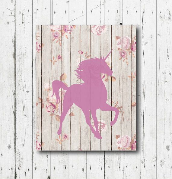 Unicorn printable art, Unicorn print, Purple unicorn wall art, Shabby chic…