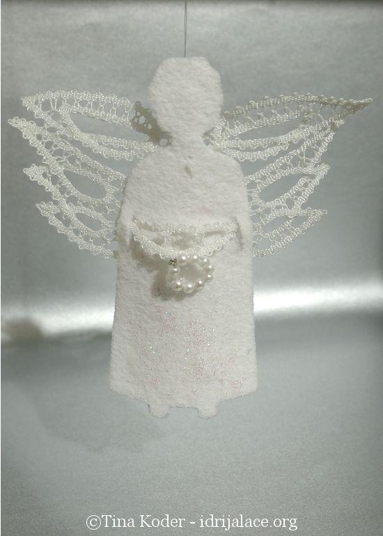 Christmas angel with Idrija bobbin-lace wings
