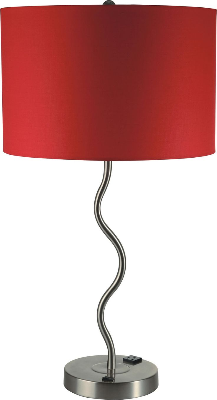 Furniture Of America L76224T RD Table Lamp Round Chrome Base And Curvy Stem  With Red