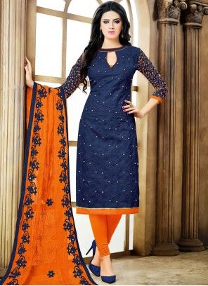 Fascinating Resham Work Navy Blue Cotton   Churidar Designer Suit